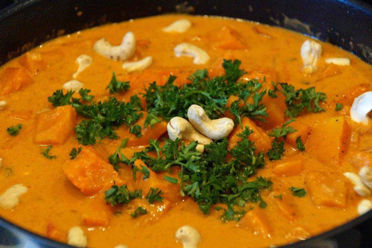 Aromatisches Kürbis–Curry