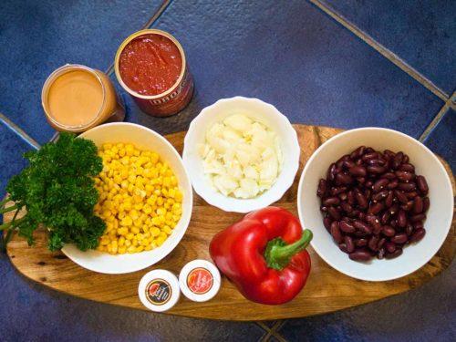 Zutaten vegetarische Gemüsepfanne mit Erdnussbutter