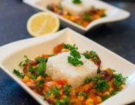 Gemüsepfanne vegetarisch mit Erdnussbutter